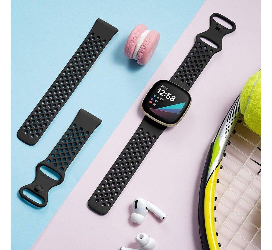 Strap-it® Fitbit Versa 3 siliconen bandje met gaatjes (zwart)