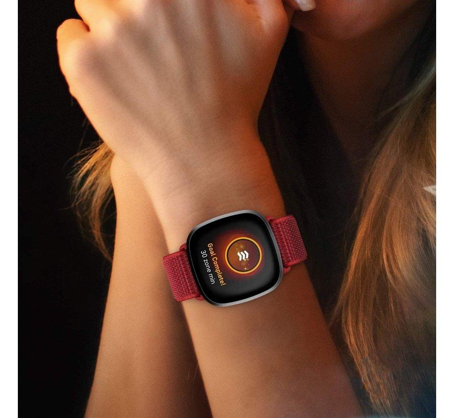 Strap-it® Fitbit Versa 3 nylon bandje (rood)