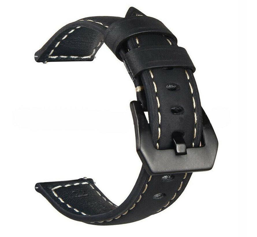 Strap-it® Samsung Galaxy Watch 3 leren bandje 45mm (zwart)