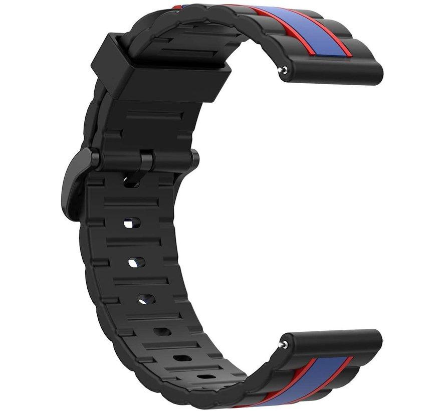 Strap-it® Samsung Galaxy Watch  41mm / 42mm Special Edition band (zwart/blauw)