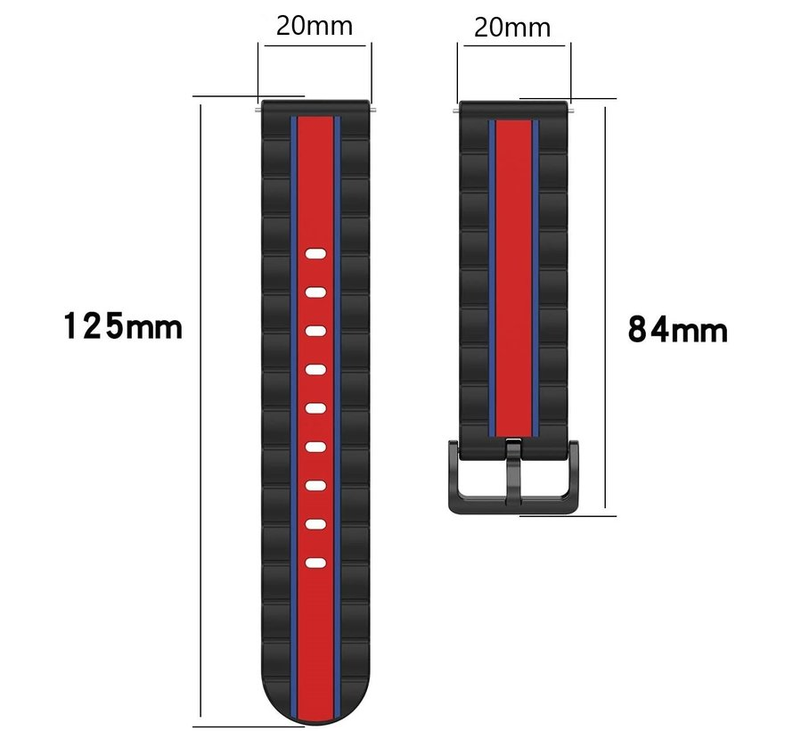 Strap-it® Samsung Galaxy Watch Active Special Edition band (zwart/rood)