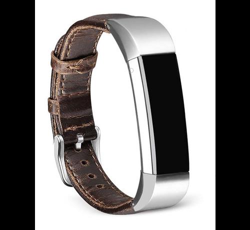 Strap-it® Strap-it® Fitbit Alta / Alta HR leren bandje (donkerbruin)
