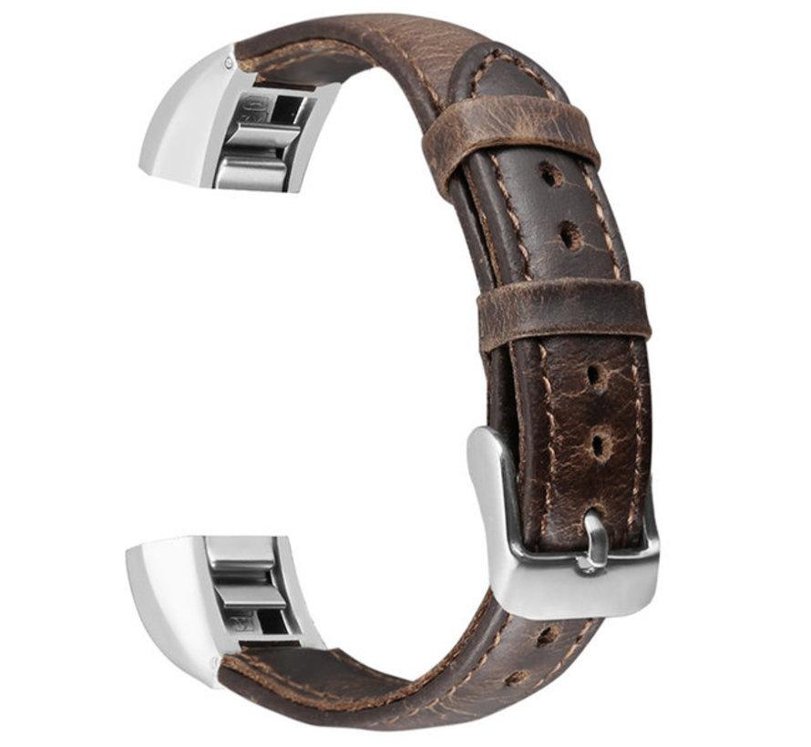 Strap-it® Fitbit Alta / Alta HR leren bandje (donkerbruin)