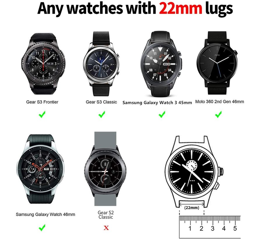 Strap-it® Samsung Galaxy Watch 45mm / 46mm nylon band (groen)