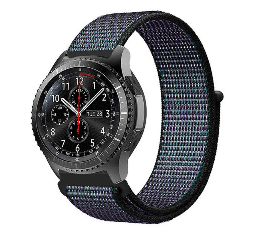 Strap-it® Samsung Galaxy Watch 45mm / 46mm nylon band (zwart/blauw)