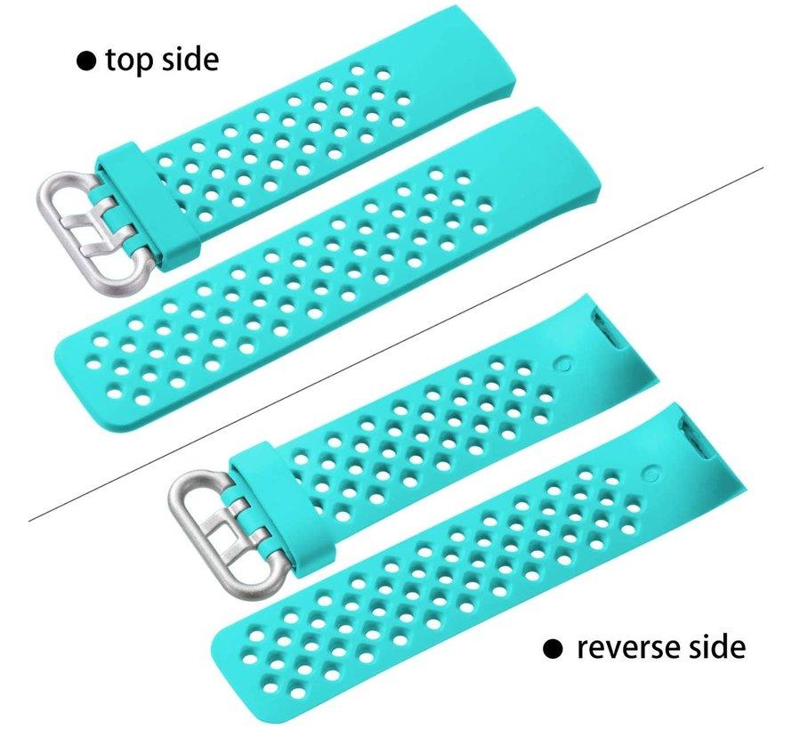 Strap-it® Fitbit Charge 3 siliconen bandje met gaatjes (aqua)