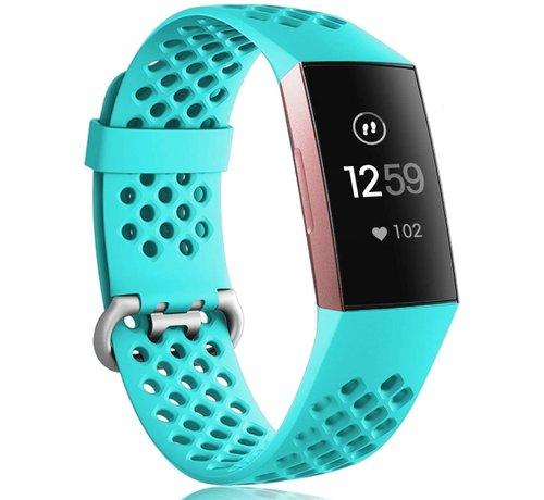 Strap-it® Strap-it® Fitbit Charge 3 siliconen bandje met gaatjes (aqua)