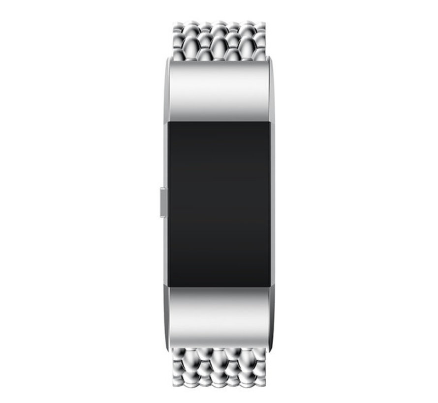Strap-it® Fitbit Charge 4 stalen draak band (zilver)