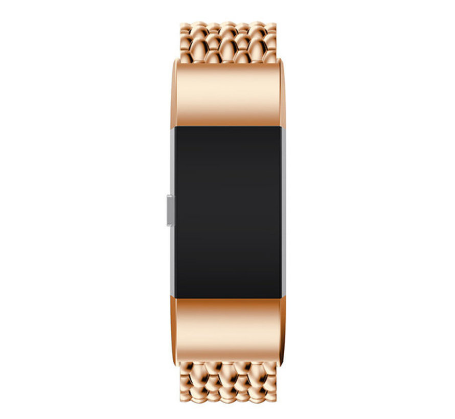 Strap-it® Fitbit Charge 4 stalen draak band (rosé goud)
