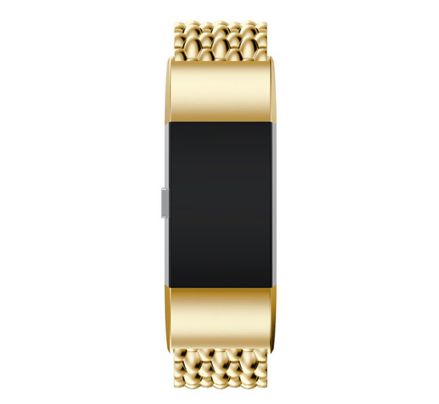 Strap-it® Fitbit Charge 4 stalen draak band (goud)