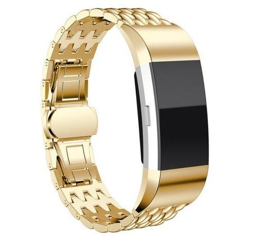 Strap-it® Strap-it® Fitbit Charge 4 stalen draak band (goud)