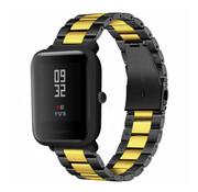 Strap-it® Xiaomi Amazfit Bip stalen band (zwart/goud)
