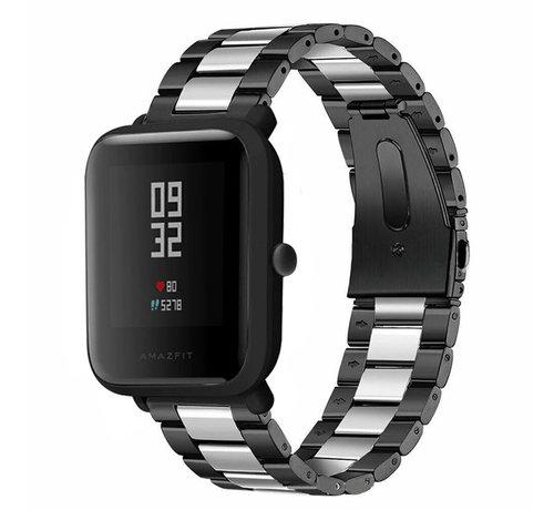 Strap-it® Strap-it® Xiaomi Amazfit Bip stalen band (zwart/zilver)