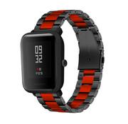 Strap-it® Xiaomi Amazfit Bip stalen band (zwart/rood)