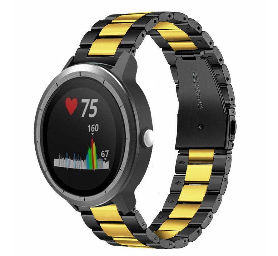 Strap-it® Garmin Vivoactive 3 stalen band (zwart/goud)