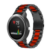 Strap-it® Garmin Vivoactive 3 stalen band (zwart/rood)