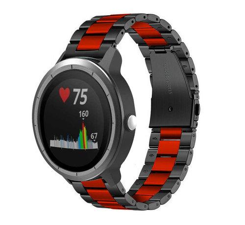 Strap-it® Strap-it® Garmin Vivoactive 3 stalen band (zwart/rood)
