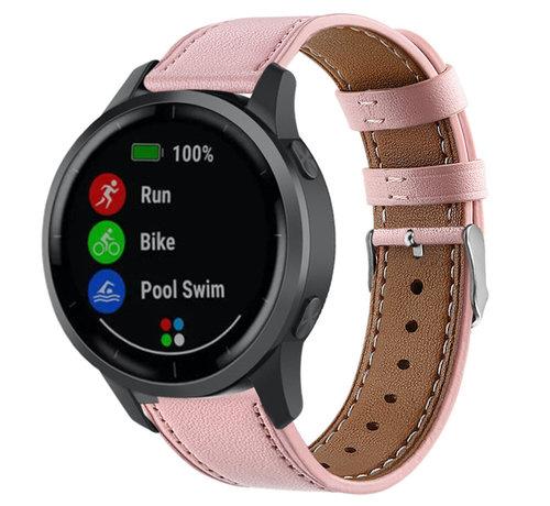 Strap-it® Strap-it® Garmin Vivoactive 4 bandje leer - 45mm - roze