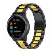 Strap-it® Garmin Vivoactive 4 stalen band - 45mm - zwart/goud