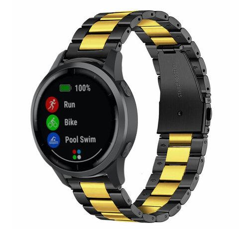 Strap-it® Strap-it® Garmin Vivoactive 4 stalen band - 45mm - zwart/goud
