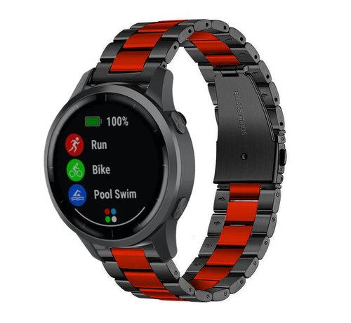 Strap-it® Strap-it® Garmin Vivoactive 4 stalen band - 45mm - zwart/rood