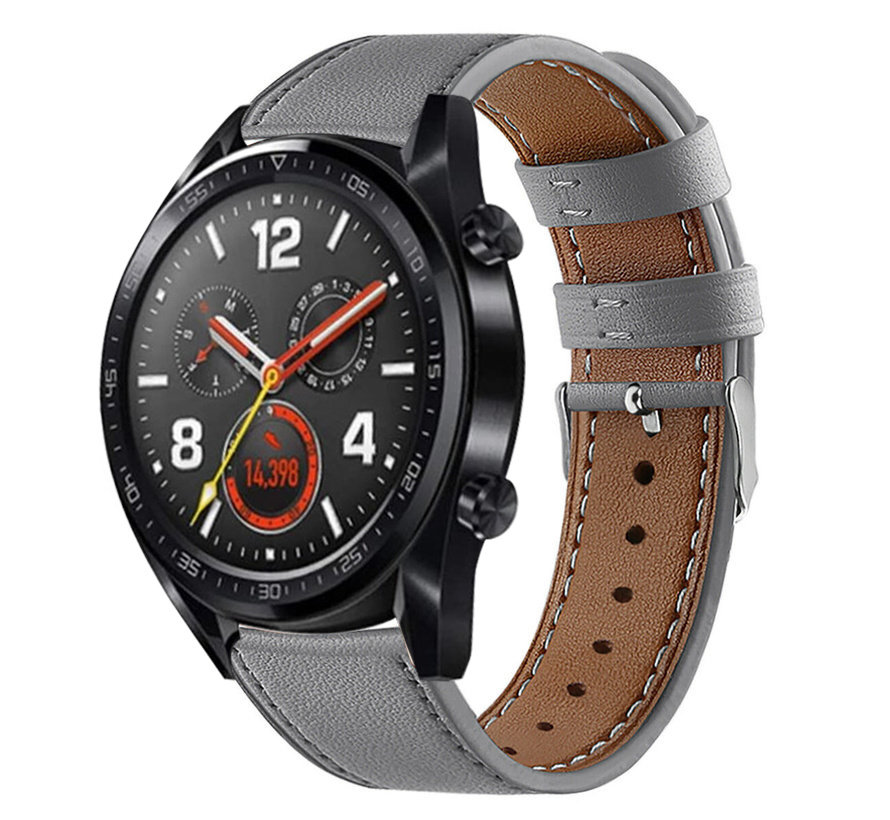 Strap-it® Huawei Watch GT bandje leer (grijs)