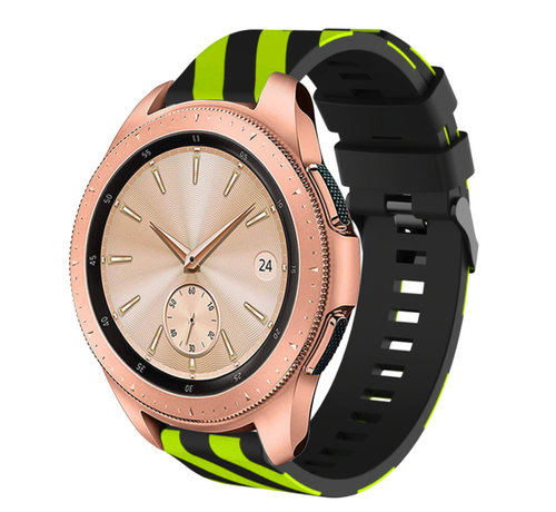 Strap-it® Strap-it® Samsung Galaxy Watch gestreept siliconen bandje 41mm / 42mm (zwart/geel)