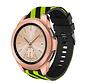 Strap-it® Samsung Galaxy Watch gestreept siliconen bandje 41mm / 42mm (zwart/geel)