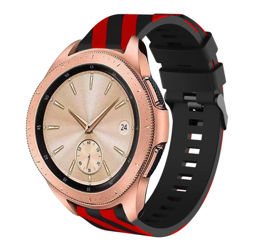 Strap-it® Samsung Galaxy Watch gestreept siliconen bandje 41mm / 42mm (zwart/rood)
