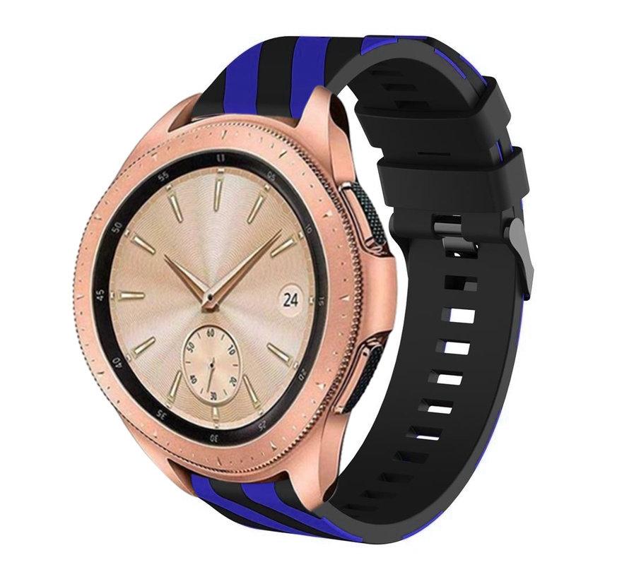 Strap-it® Samsung Galaxy Watch gestreept siliconen bandje 41mm / 42mm (zwart/blauw)