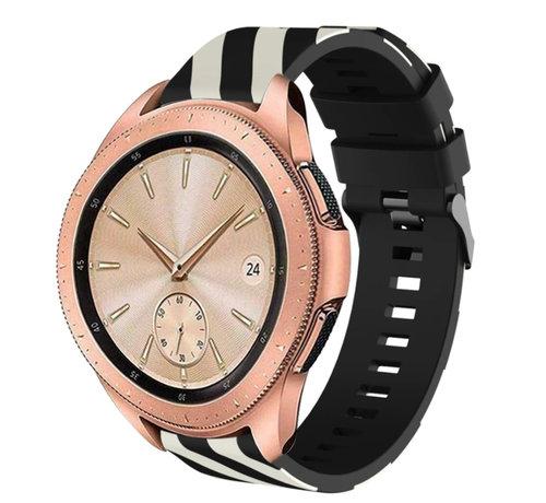 Strap-it® Strap-it® Samsung Galaxy Watch gestreept siliconen bandje 41mm / 42mm (zwart/wit)