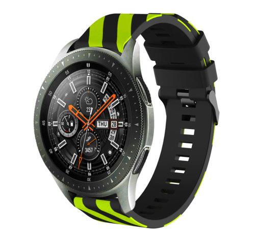 Strap-it® Strap-it® Samsung Galaxy Watch gestreept siliconen bandje 45mm / 46mm (zwart/geel)