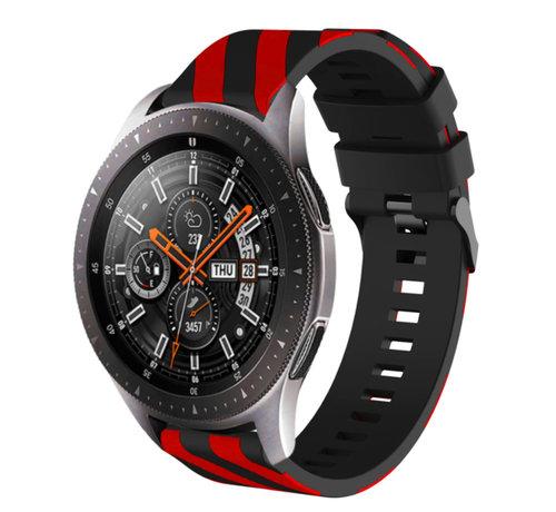 Strap-it® Strap-it® Samsung Galaxy Watch gestreept siliconen bandje 45mm / 46mm (zwart/rood)