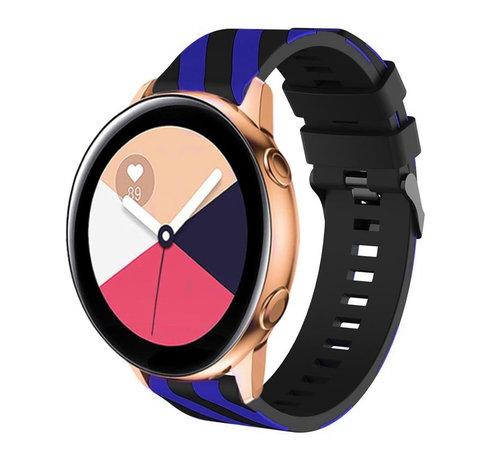 Strap-it® Strap-it® Samsung Galaxy Watch Active gestreept siliconen bandje (zwart/blauw)