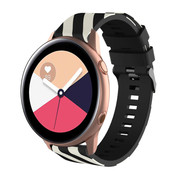 Strap-it® Samsung Galaxy Watch Active gestreept siliconen bandje (zwart/wit)