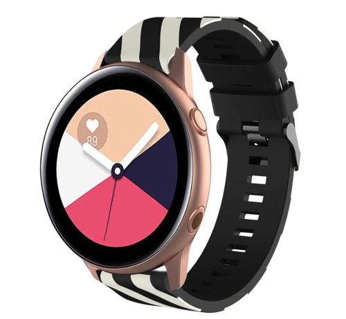 Strap-it® Strap-it® Samsung Galaxy Watch Active gestreept siliconen bandje (zwart/wit)