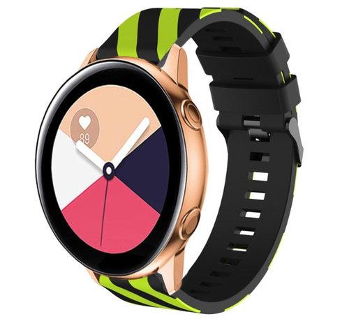 Strap-it® Strap-it® Samsung Galaxy Watch Active gestreept siliconen bandje (zwart/geel)