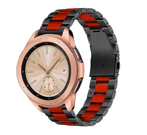 Strap-it® Strap-it® Samsung Galaxy Watch stalen band 41mm / 42mm (zwart/rood)