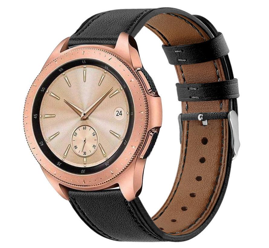 Strap-it® Samsung Galaxy Watch 41mm/42mm bandje leer (strak-zwart)