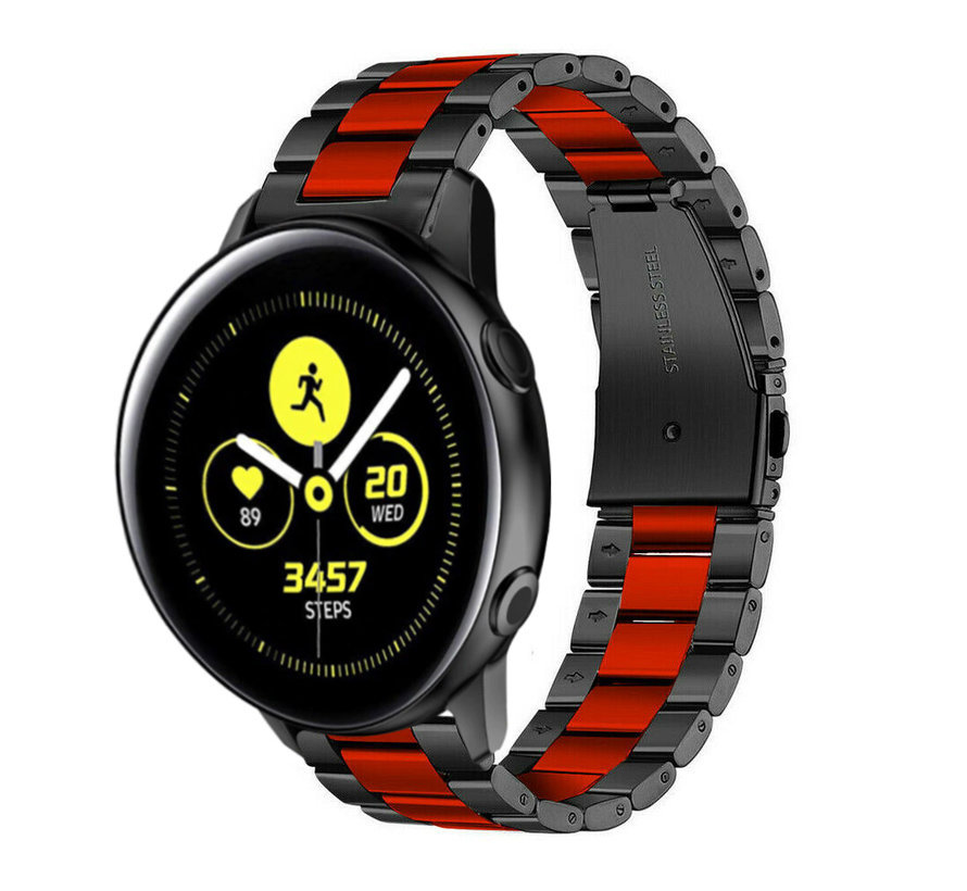 Strap-it® Samsung Galaxy Watch Active stalen band (zwart/rood)