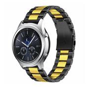 Strap-it® Samsung Gear S3 stalen band (zwart/goud)