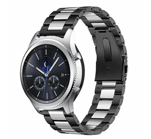 Strap-it® Strap-it® Samsung Gear S3 stalen band (zwart/zilver)
