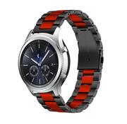 Strap-it® Samsung Gear S3 stalen band (zwart/rood)