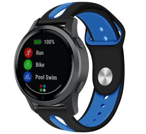 Strap-it® Strap-it® Garmin Vivoactive 4 duo sport band - 45mm - zwart/blauw