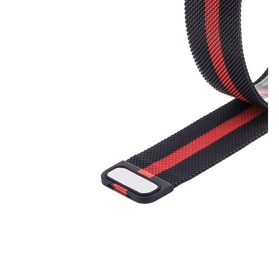 Strap-it® Garmin Venu Milanese band (zwart/rood)