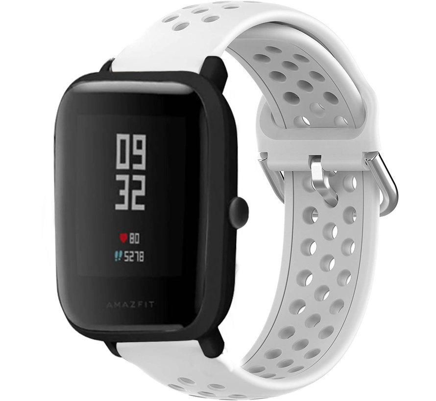 Strap-it® Xiaomi Amazfit Bip siliconen bandje met gaatjes (wit)