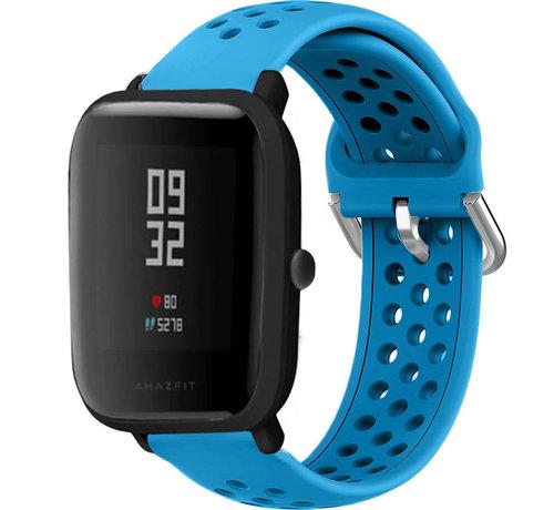 Strap-it® Strap-it® Xiaomi Amazfit Bip siliconen bandje met gaatjes (lichtblauw)