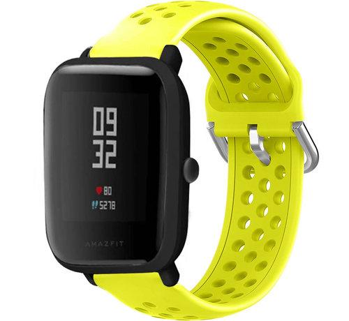 Strap-it® Strap-it® Xiaomi Amazfit Bip siliconen bandje met gaatjes (geel)