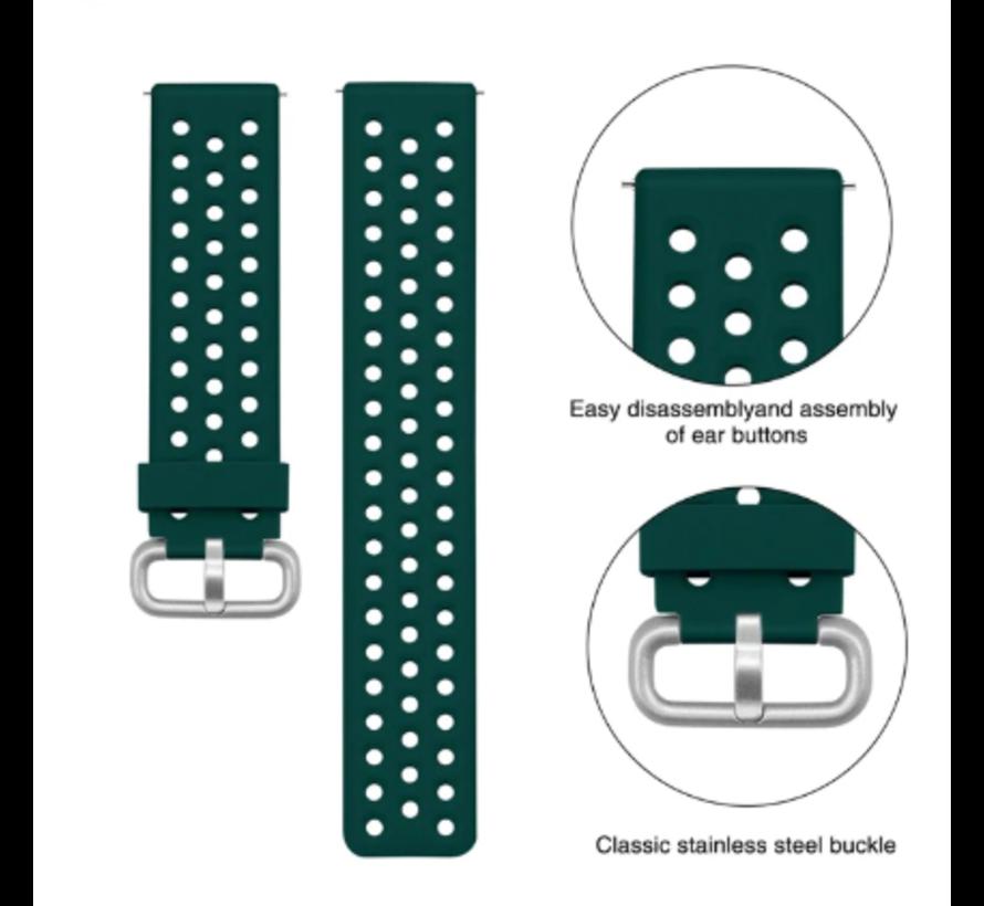 Strap-it® Xiaomi Amazfit Bip siliconen bandje met gaatjes (legergroen)
