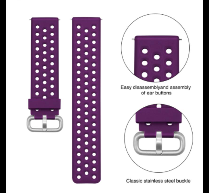 Strap-it® Xiaomi Amazfit Bip siliconen bandje met gaatjes (paars)